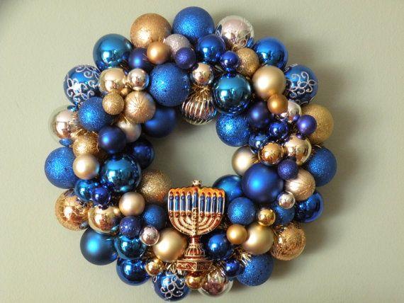 hanukkah ornament wreath 16 festival of lights - Hanukkah Decorations
