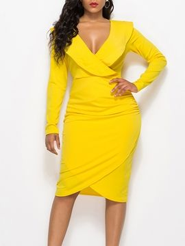 53a2d714b50 Ericdress Long Sleeves Bodycon Ruffles Women s Dress