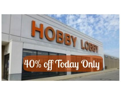 Hobby Lobby Coupon: 40% off Single Item! Today Only - http://www.livingrichwithcoupons.com/2014/04/hobby-lobby-coupon-40-single-item-today-2.html