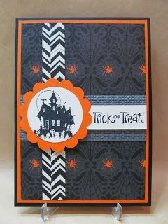 Savvy Handmade Cards: Trick or Treat Halloween Card, Stampin' Up! Best of Halloween stamp set and Witches' Brew dsp.