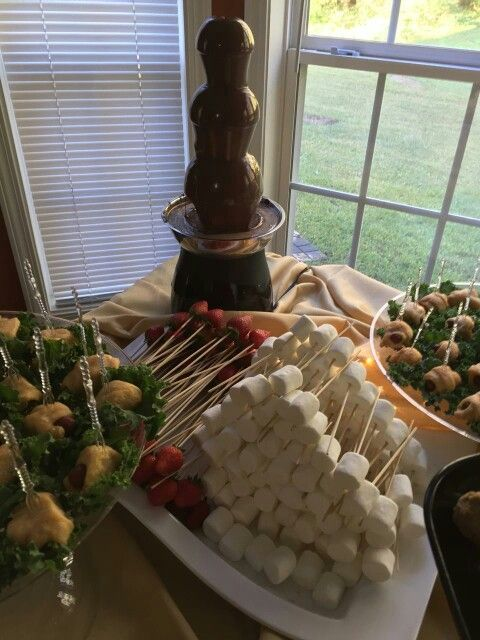Chocolate Fountain with marshmallows and strawberries.