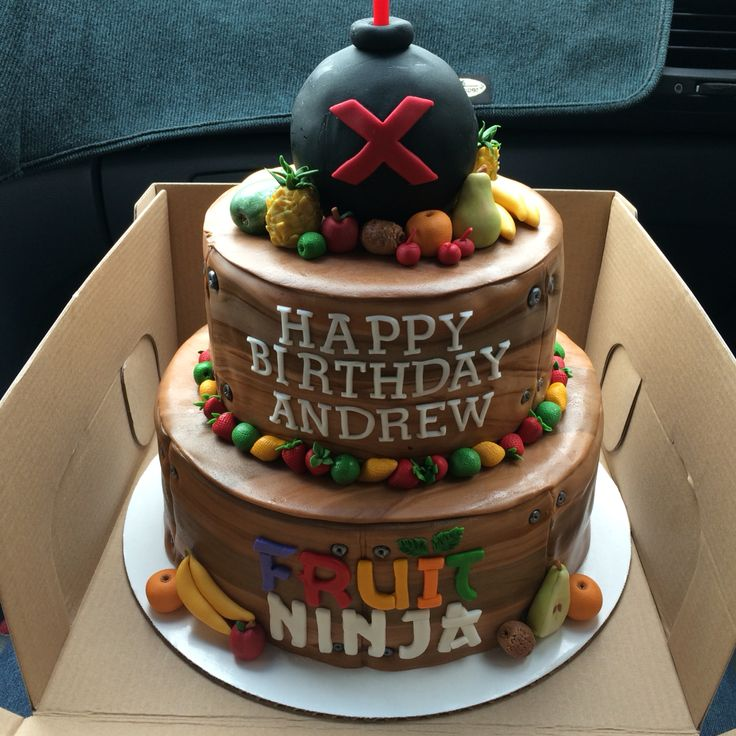 Fruit ninja theme birthday cake. Fondant fruit pieces. Rice Krispie ...