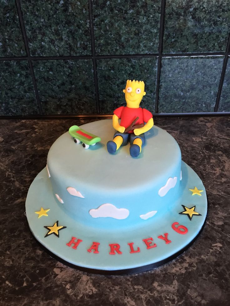 The Simpsons........ handmade edible Bart complete with skateboard and catapult.