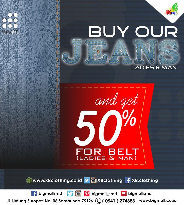Syarat dan Ketentuan : 1. Setiap pembelian 1pcs celana jeans panjang harga normal bisa beli 1pcs belt harga normal dgn disc.50% 2. Customer bebas pilih beltnya, jika beli celana jeans cewek, mau beli belt cowok juga boleh dgn disc.50%. Begitupun sebaliknya jika beli celana jeans cowok 3. Promo tidak berlaku utk pembelian celana jeans harga SP atau discount 4. Pembelian belt disc.50% tidak diperhitungkan dlm syarat mendapatkan Free Gift berlangsung di toko. 5. Disc member tetap berlaku.