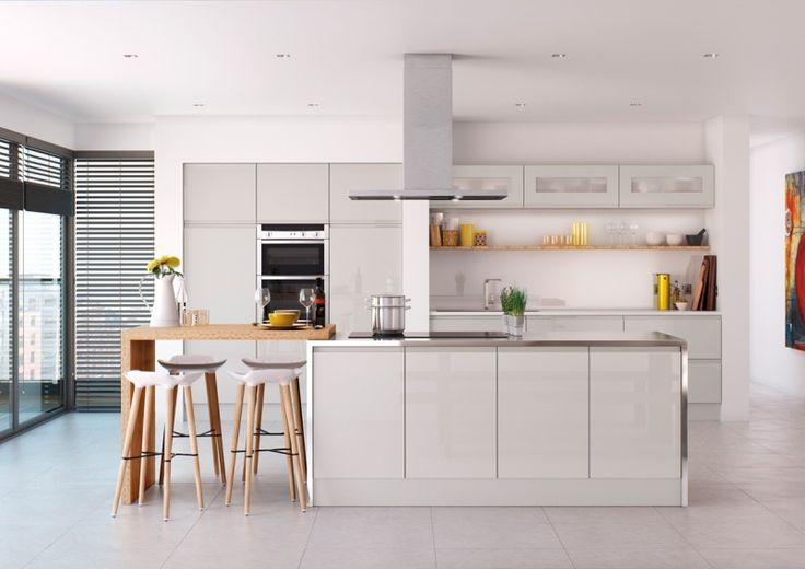 light grey gloss kitchen 1