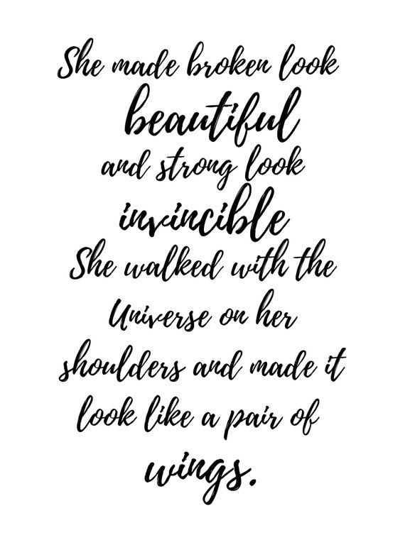 She Made Broken Look Beautiful Typography Wall Art Poem Home Decor