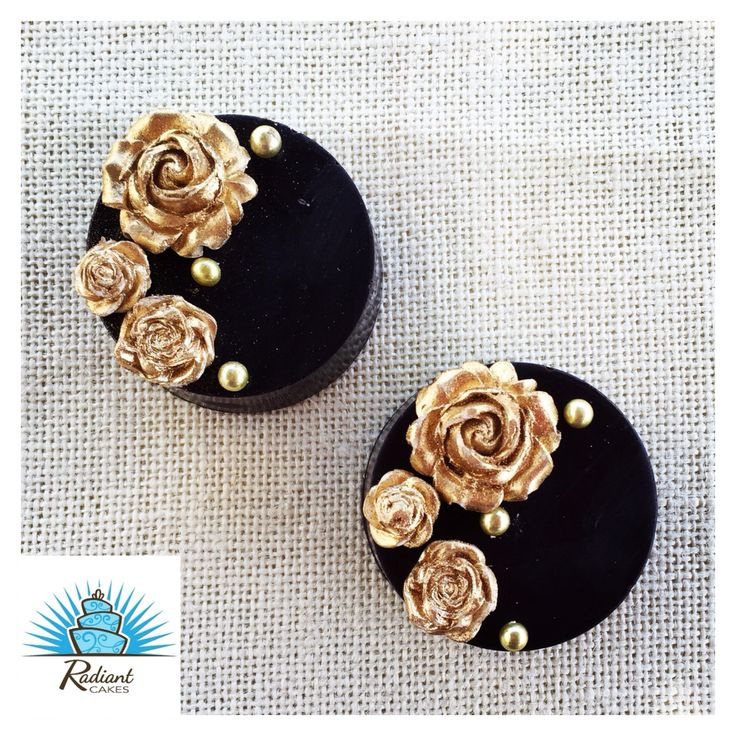 Chocolate Covered Oreos in Black with Gold Flowers. By: Radiant Cakes