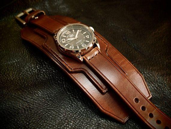 Leather cuff watch wrist watch vintage Nathan by mataradesign
