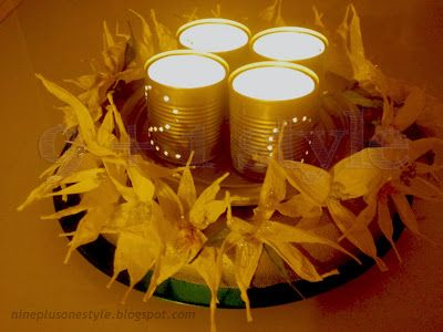 Centrotavola con latte o fiori in carta svedese - how to recycle cans in a magic centerpiece - sweden paper
