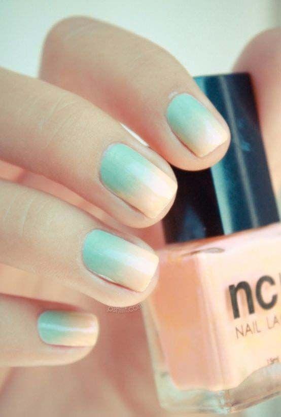 Teal and peach gradient nail