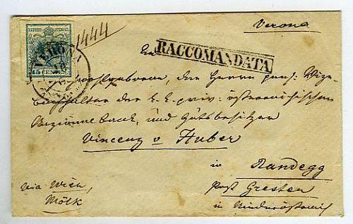 """Racc. da Verona 28/3 a Randegg (Austria) con L.Veneto 45 c. (12) e al retro 30 c. (9). Manoscritto """"Via Wien, Molk""""."""