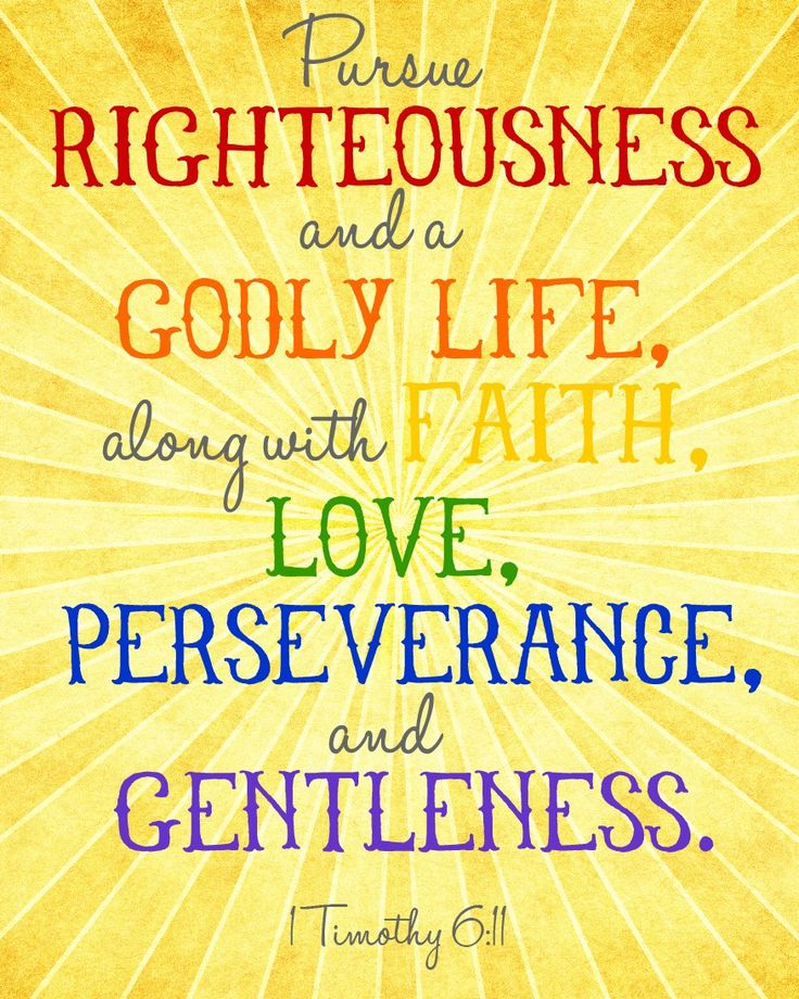 Pursue righteousness and a Godly life, along with faith, love, perseverance, and gentleness. 1 Timothy 6:11
