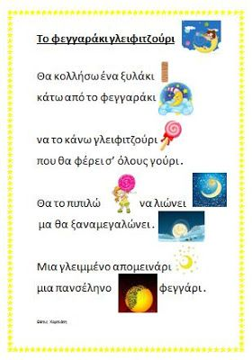 dreamskindergarten Το νηπιαγωγείο που ονειρεύομαι !: Το φεγγαράκι γλειφιτζούρι της Θέτις Χορτιάτη και οι φάσεις της σελήνης