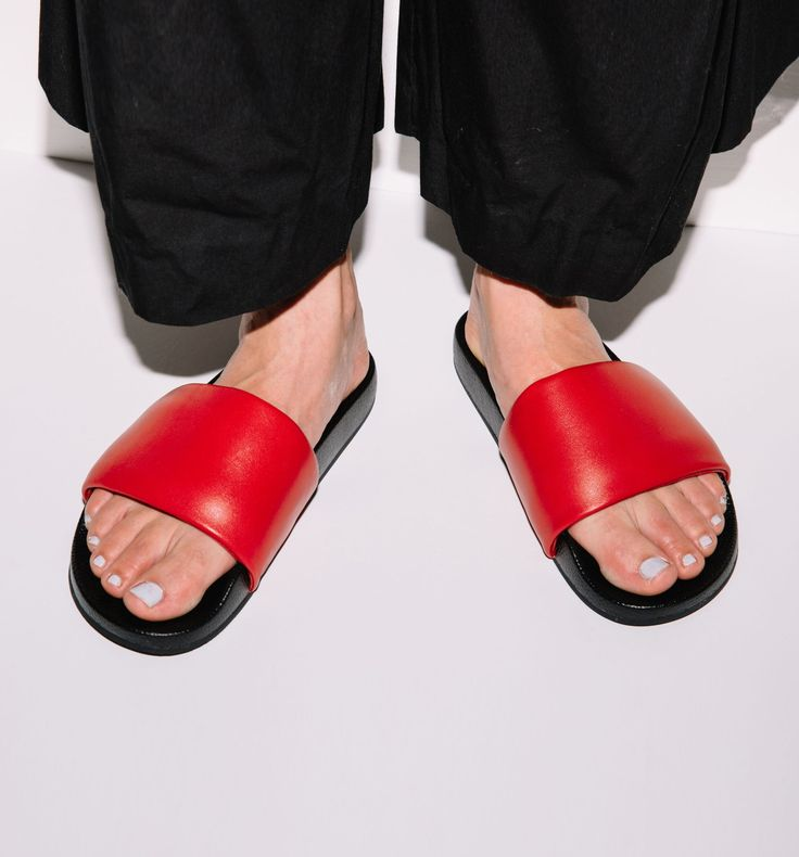 Radical Yes - 'The Magic' Luxe Leather Pool Slide Red
