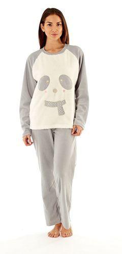 67c232718560 Ladies Furry Panda Eyes Soft Fleece Lounge Pyjamas  Pale Grey ...