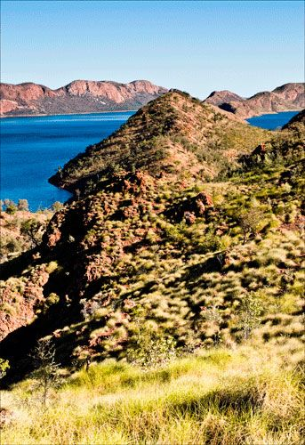 """Lake Argyle #westernaustralia """"This stunning man made lake has to be seen to be believed. Set off beautifully by the Spinifex, the clear waters of deep blue are a photographers delight. The friendly little settlement at Lake Argyle is also not to be missed."""" Brendon & Jude Weston"""