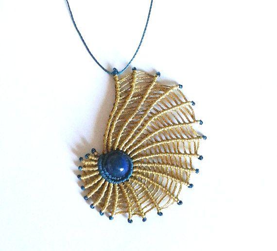 Macrame shellfish necklace with blue agate stone/ micromacrame/ gold nautilus/ blue oceanic pendant/ women jewelry