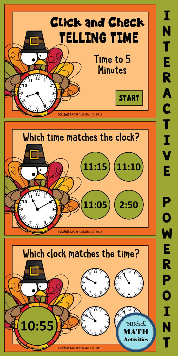 Click and Check Telling Time to 5 Minutes Thanksgiving