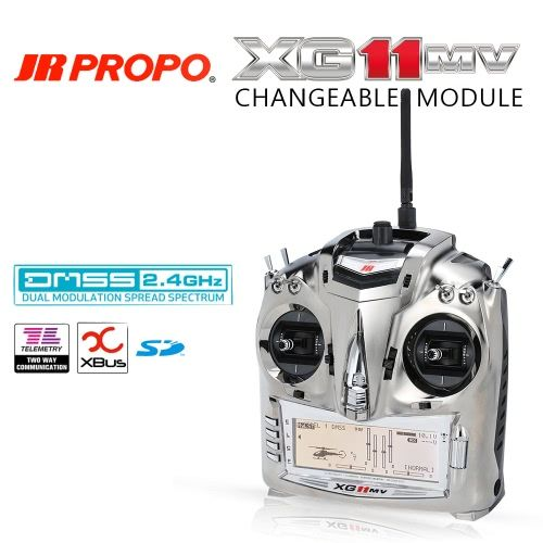 Original JR PROPO XG11MV 2.4GHz 11 Channel DMSS Transmitter Mode 2 & RG812BX 8CH Receiver X.BUS System for RC Quadcopter Multicopter Helicopter Glider