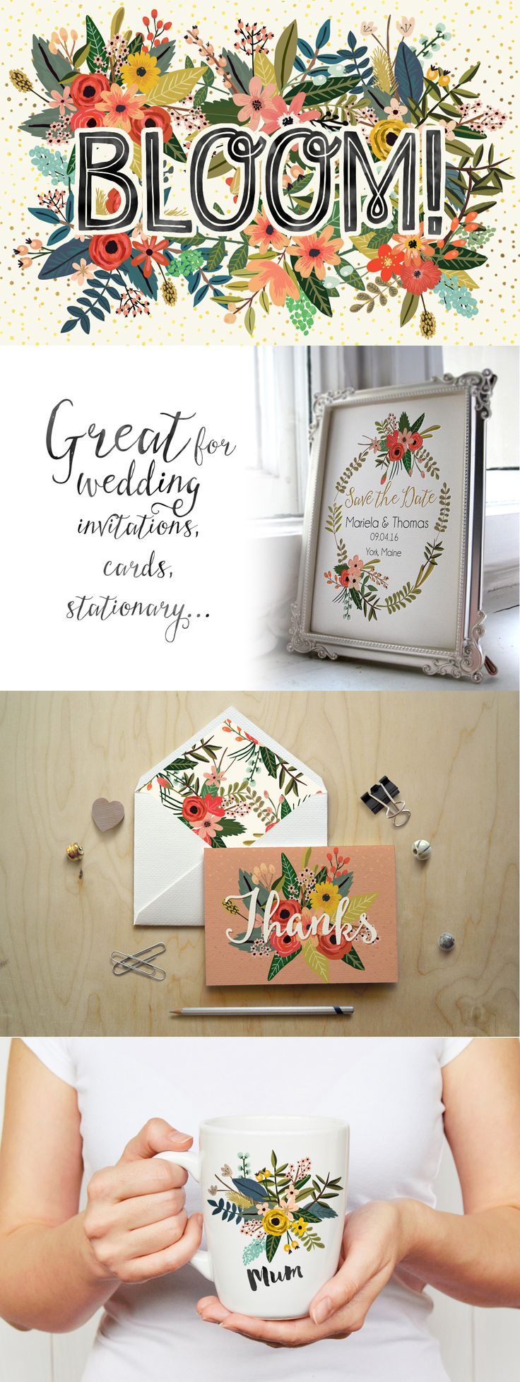 Bloom! Flower Collection by Mia Charro on Creative Market #designtools