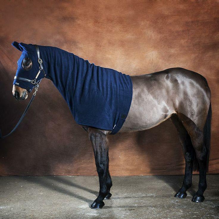 Fleece horse hood from Snuggy Hoods - Navy Horse Hood.