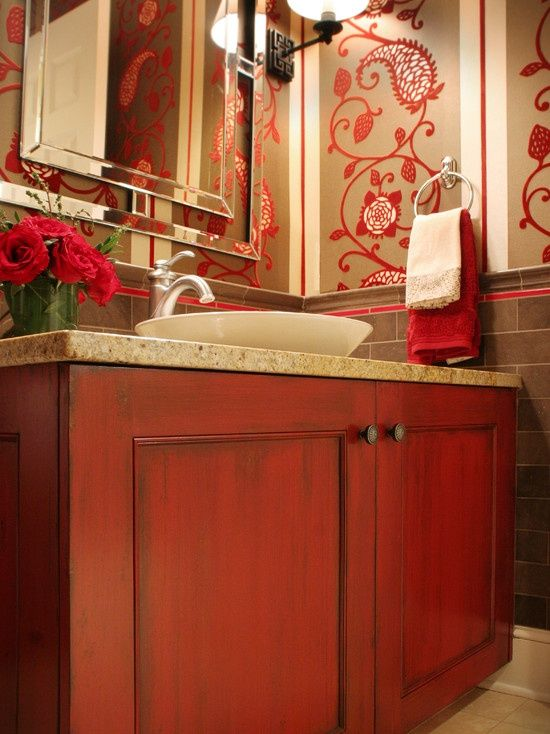 Cool Hot Cranberry Monochromatic Rooms  Cool Hot Cranberry Monochromatic Rooms With Wooden Marble Bathroom Vanity And Wall Mirror Des
