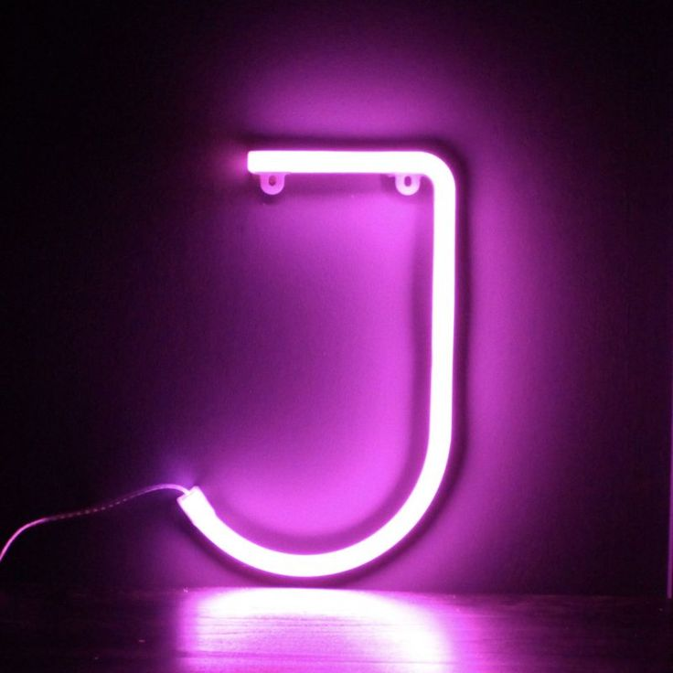 Neon Letter J – Pink   Neon letter lights, Pink neon ...