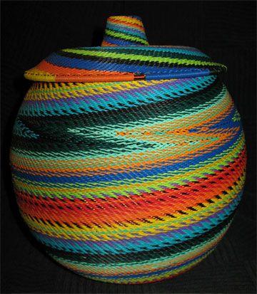 African Zulu Telephone Wire Basket
