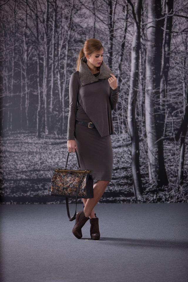vestito pannello / cintura bicolor / collo rettangolo montone / doctor bag