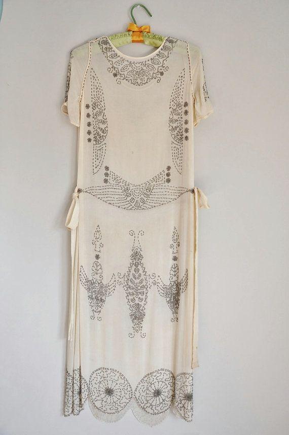 beaded art deco white dress
