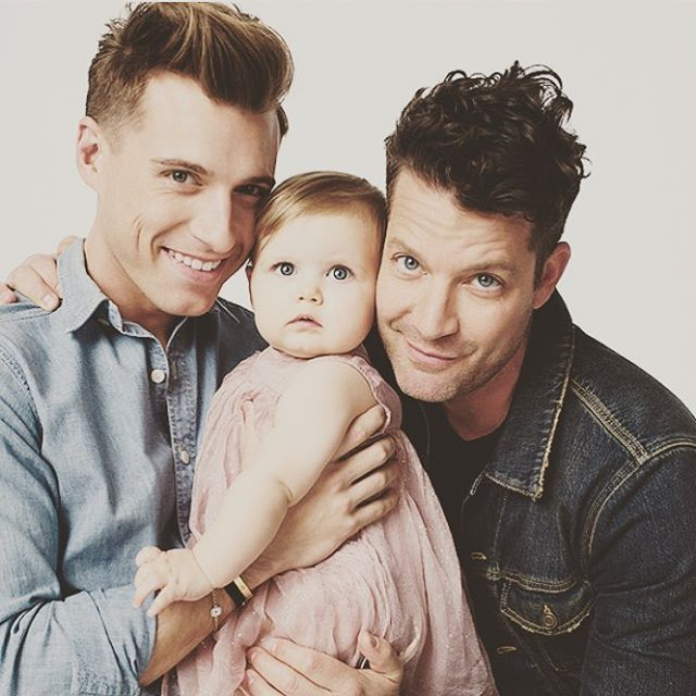 Design guru Nate Berkus and husband Jeremiah Brent with one year old daughter