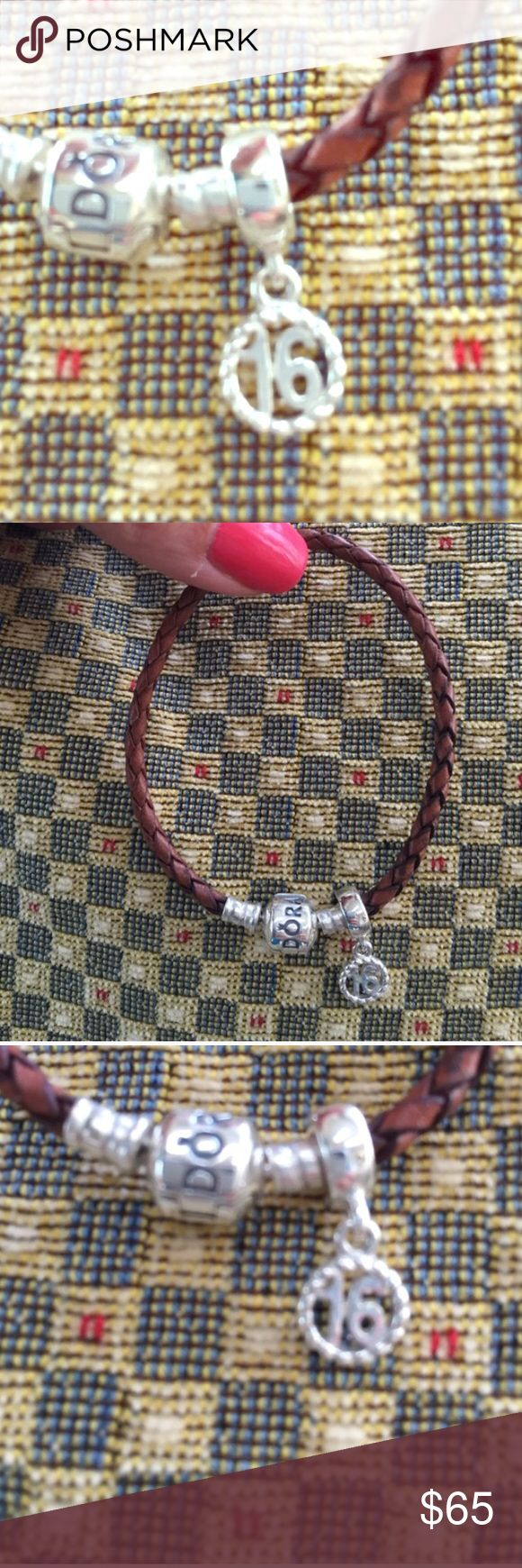 PANDORA ROPE BRACLET AND PANDORA SWEET 16 CHARM PANDORA BROWN LEATHER ROPE BRACELET -  $45 and PANDORA SILVER SWEET 16 CHARM -  $30 - Perfectly loved condition! Will ship immediately! Sold separately prices listed or sold together at sale price $65 Pandora Jewelry Bracelets