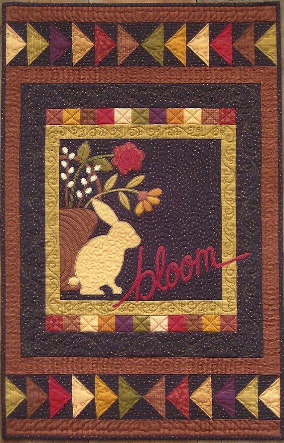 cute~Primitive Folk Art Wall Quilt Pattern:  BLOOM - Inspiration Series. for sale via Etsy.