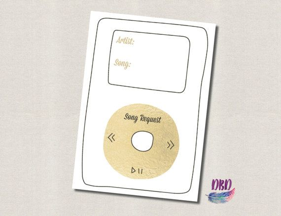 GOLD IPOD SONG REQUEST WEDDING CARD YOU WILL RECEIVE A Print Ready High