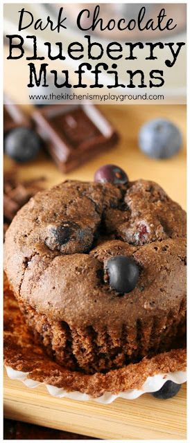 Dark Chocolate Blueberry Muffins ~ Loaded with chopped dark chocolate and juicy …