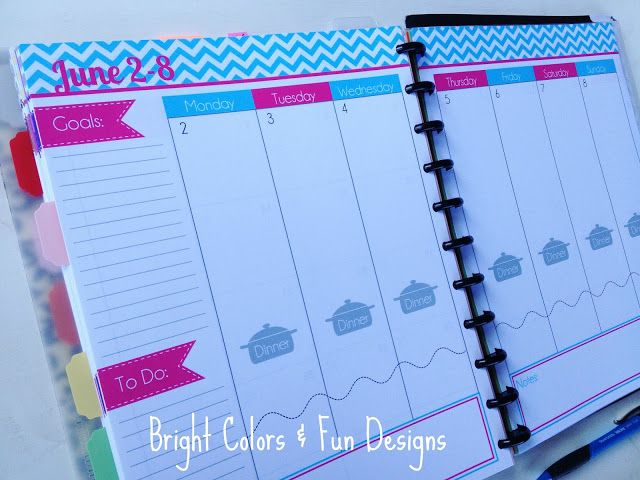 Officially the BEST planner EVER! So bright and colorful. Print your own! :)