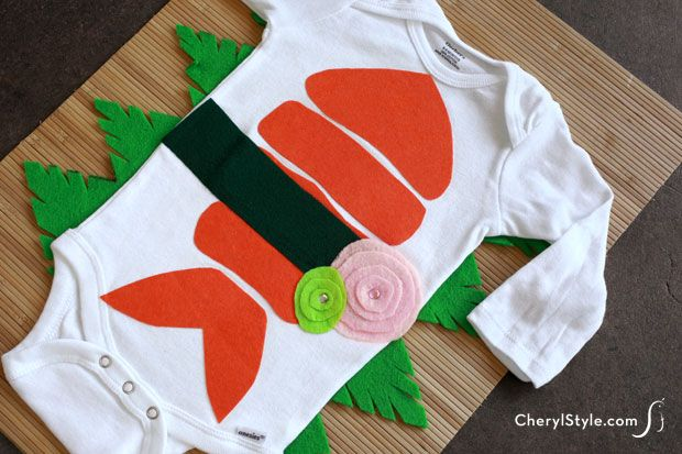 Use inexpensive HeatNBond to make an adorable no-sew sushi Halloween baby costume with a onesie! It's so easy!