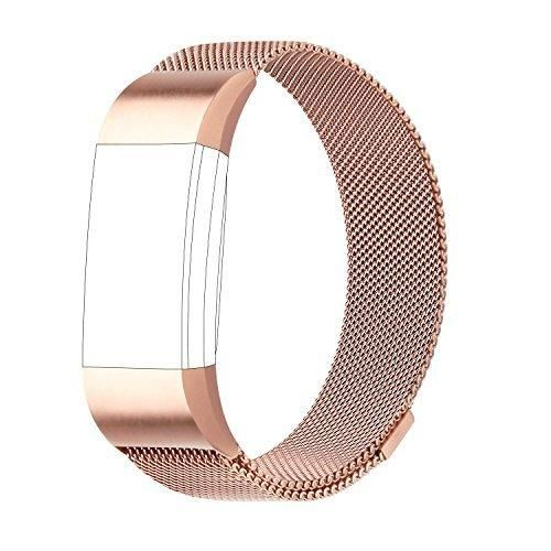 For Fitbit Charge 2 Bands Milanese Loop Stainless Steel Bracelet Smart Watch Strap with Unique Magnet Lock for Fitbit Charge 2 Replacement Wristbands Large Small