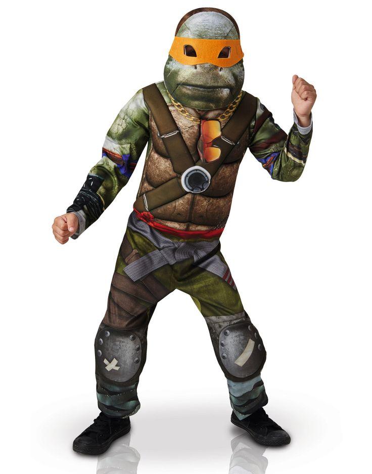Disfraz Tortugas Ninja™ - TMNT película 2: Este disfraz de Tortuga Ninja™ para niño tiene licencia oficial.Incluye traje, semi máscara y 4 antifaces (zapatos no incluidos).El traje simula el traje de las Tortugas Ninja en...