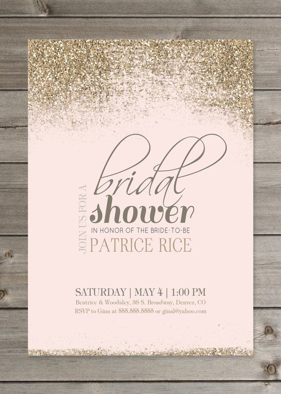 Blush and Gold Bridal Shower Glitter Invitation 5x7 by GaiaDesignStudios on Etsy only white with silver glitter