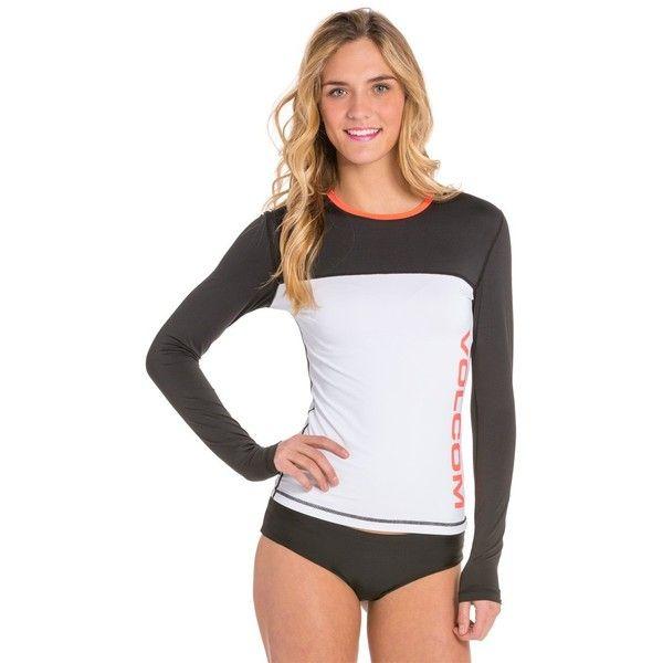 Volcom Colorblock L/S Rashguard ($22) ❤ liked on Polyvore featuring swimwear, black, retro swim wear, volcom, rash guard swimwear, colorblock swimwear and volcom swimwear