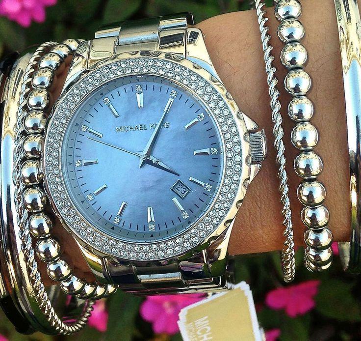 MICHAEL KORS LADIES SILVER MADISON GLITZ 42MM BRACELET DESIGNER WATCH MK5451 in Wristwatches | eBay