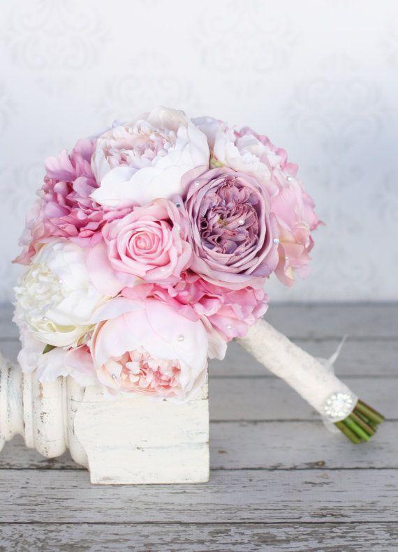 Seide Braut Strauß Pfingstrosen Rosa Creme lila von braggingbags