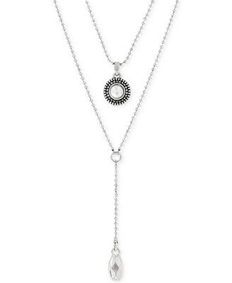 Lucky Brand Silver-Tone Freshwater Pearl Two-Row Y Long Necklace