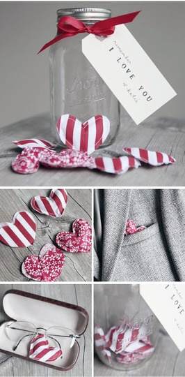 """cute stuffed handsewn hearts.  (dog toy?  ornament?  pocket?  etc.)  could embroyder """"be mine"""" on one side and other phrases to be mailed as valentines"""