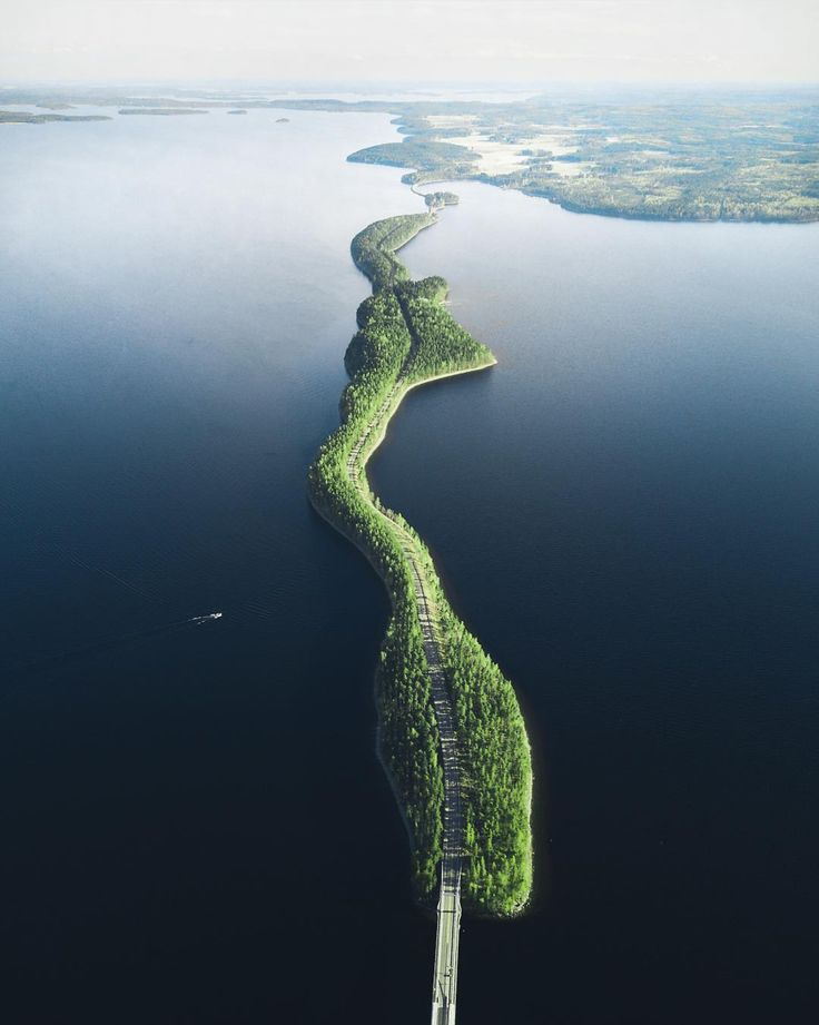 "dailyoverview: ""Check out this stunning drone photo of the Pulkkilanharju bridge crossing Lake Päijänne in Asikkala, Finland. It is the second largest lake in the country, spanning 266,874 acres and..."