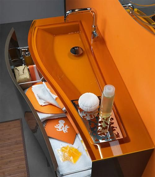 Contemporary Corner Sink For Bathroom Ideas   Orange Color