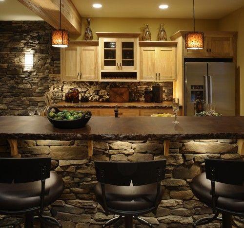 Basement kitchen/bar: Bar Lighting, Kitchens Design, Custom Homes, Stones Wall, Stains Concrete, Rustic Kitchens, Basements Bar, Bar Area, Concrete Countertops