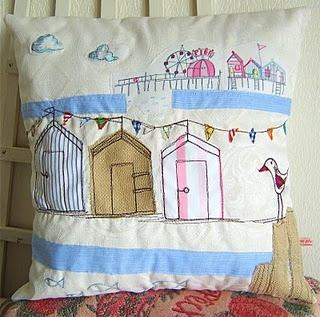 Seaside, Bunting, appliquéd cushion - everything I love in one single photograph