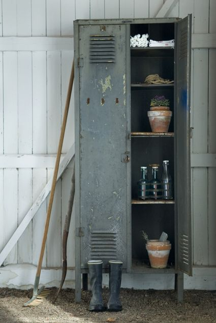 cool styling with recycled locker and garden supplies. by SUSANNE KINGS